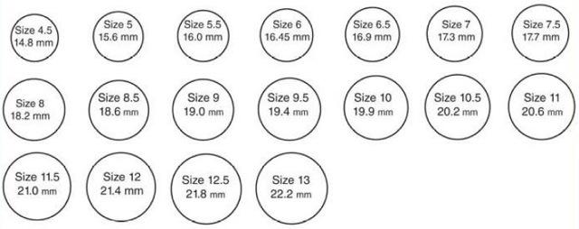 jewelry size chart