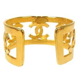 Chanel CC Logos Gold Tone Bangle