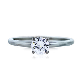 18K White Gold 0.50ct Round Diamond Engagement Ring Size 8.5