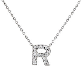 Roberto Coin 18K White Gold 0.06ct Diamond Love Letter R Necklace