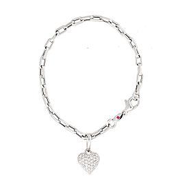 Roberto Coin 18K White Gold 0.44ct Diamond Heart Charm Bracelet