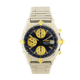 Breitling Chronomat B13051 18K Yellow Gold & Stainless Steel Blue Dial 40mm Mens Watch