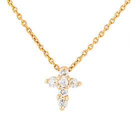 Roberto Coin 18K Yellow Gold 0.11ct Diamond Baby Cross Necklace