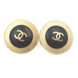 Chanel Gold Plated CC Black Clip-on Earrings