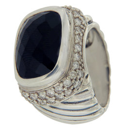 David Yurman 925 Sterling Silver Diamond & Onyx Cable Ring Size 6