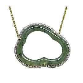 Pamela Huizenga 18K Yellow Gold and 0.32ct. Diamond Silver Lining Nephrite Necklace
