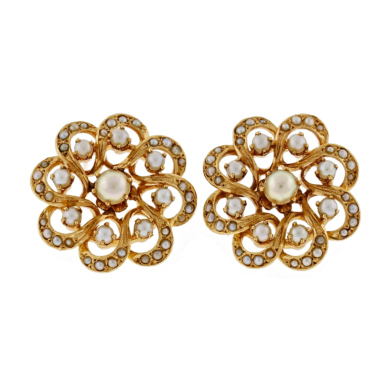 "Image of ""Hammerman Brothers 14K Yellow Gold & Pearl Circle Cluster Earrings"""