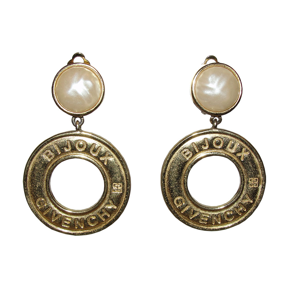 "Image of ""Givenchy Gold Plated Metal Faux Pearl Hoop Dangle Earrings"""