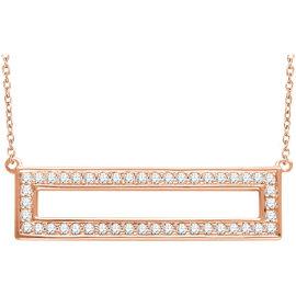 14K Rose Gold & 0.35ct. Diamond Rectangle Bar Necklace