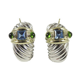 David Yurman Sterling Silver & 14K Yellow Gold Blue Topaz & Green Onyx Renaissance Shrimp Earrings