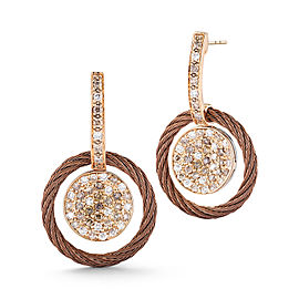 18K Petra Gold Bronze Cable and Stainless Steel 0.27ct White Diamond and 0.53ct Colored Diamond Earrings