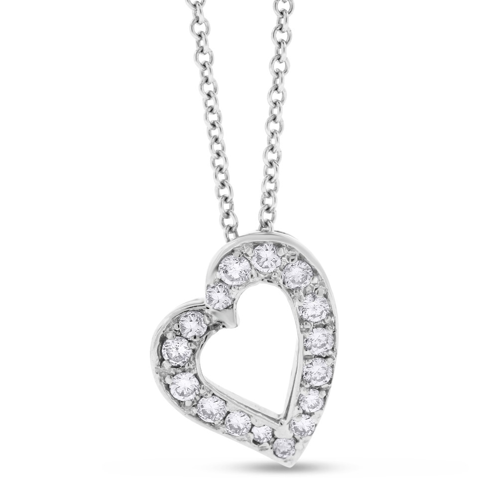 "Image of ""14k White Gold 0.32 Ct. Natural Diamond Small Slated Love Heart"""
