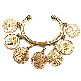 Chanel Gold-Tone Coin Medallion Vintage Cuff Bracelet