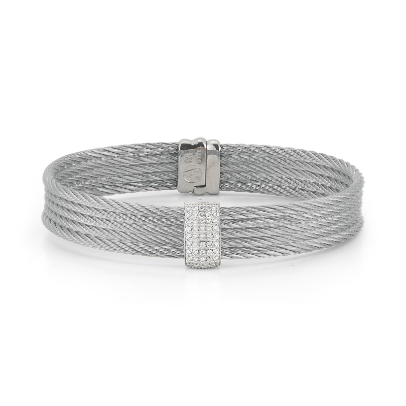 "Image of ""18K White Gold and Stainless Steel Grey Cable 0.41ct Diamond Bangle"""