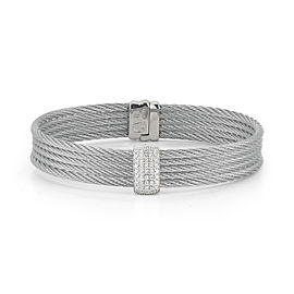 18K White Gold and Stainless Steel Grey Cable 0.41ct Diamond Bangle