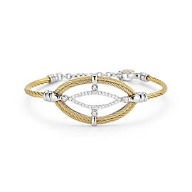 18K White Gold and Stainless Steel Yellow Cable 0.33ct Diamond Bangle