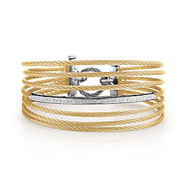 18K White Gold, Yellow Gold and Stainless Steel Yellow Cable 0.32ct Diamond Bangle
