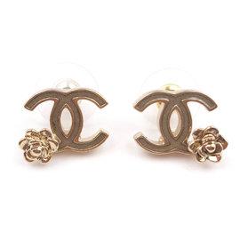 Chanel CC Gold Tone Bronze Green Camellia Flower Piercing Earrings