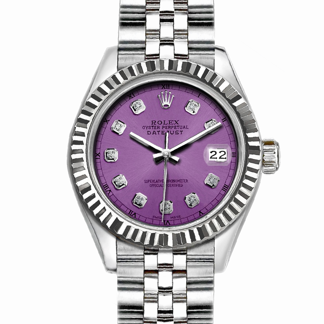 "Image of ""Rolex Datejust Stainless Steel with Purple Dial 36mm Men Watch"""
