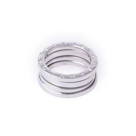 Bulgari 18K White Gold B.zero1 3 Band Ring Size 4.5