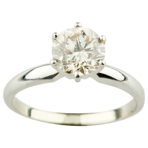 """Image of """"14K White Gold and 1.19ct Round-Cut Diamond Solitaire Engagement Ring"""""""