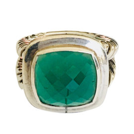 David Yurman Albion 925 Sterling Silver & Green Onyx Cocktail Ring Size 7