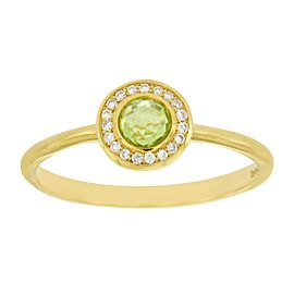 Ippolita Lollipop Mini 18K Yellow Gold Peridot & Diamond Ring Size 7