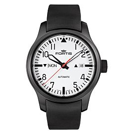 Fortis Aeromaster F-43 Flieger 655.18.12 K Stainless Steel White Dial 42mm Mens Watch