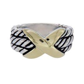 David Yurman 925 Sterling Silver & 14K Yellow Gold X Crossover Ring Size 5.5