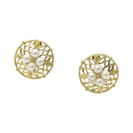 Mikimoto 18K Yellow Gold Pearl Earrings