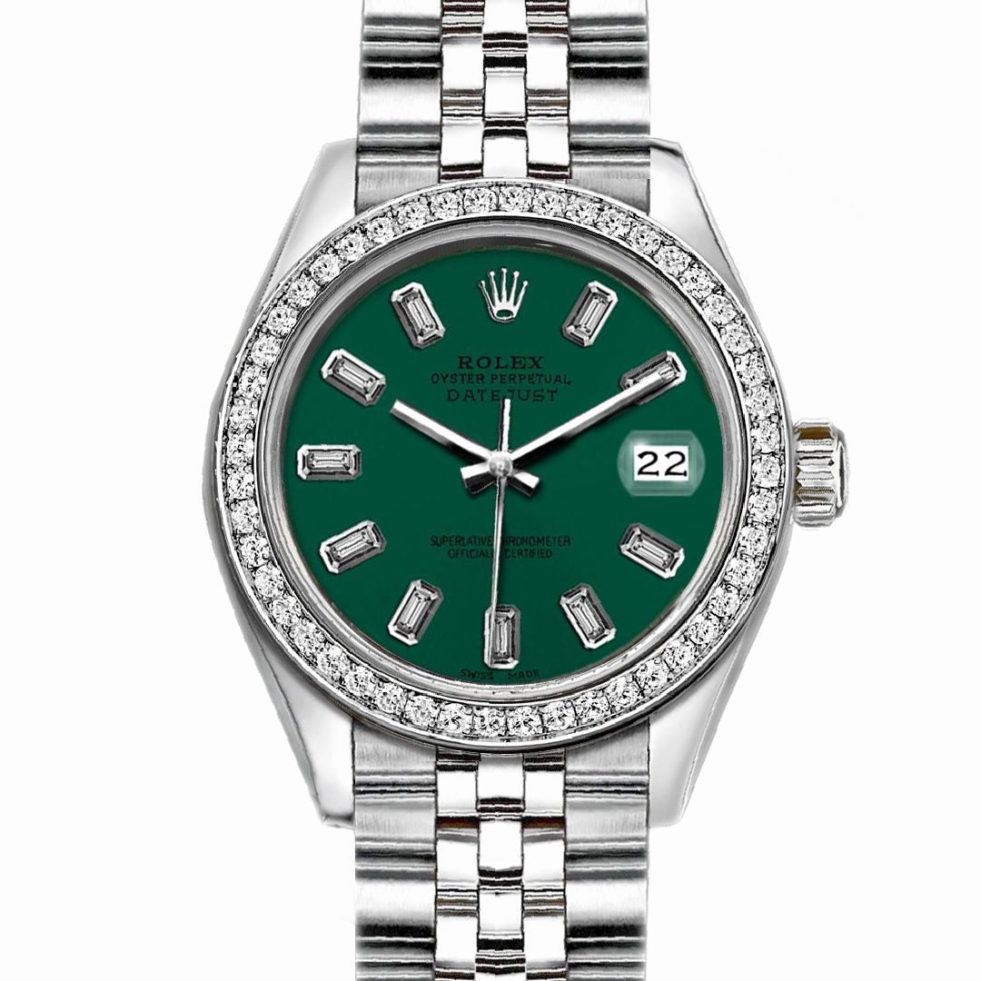 "Image of ""Rolex Datejust Stainless Steel with Custom Bezel and Green Dial 36mm"""