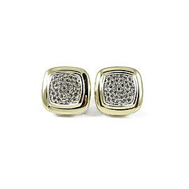 David Yurman Sterling Silver 18K Yellow Gold .72tcw 11mm Pave Diamond Albion Earrings