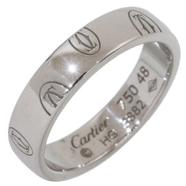 Cartier 18K White Gold Happy Birthday Wedding Band Ring Size 4.5