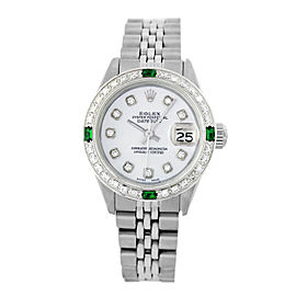 Rolex Datejust 6917 Stainless Steel & White Mother of Pearl Diamond Dial 26mm Womens Watch