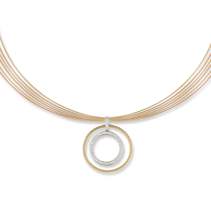 "Image of ""18K White Gold and Stainless Steel Grey, Rose, and Yellow Cable 0.39ct"""