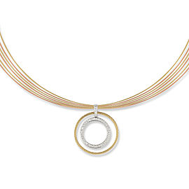 18K White Gold and Stainless Steel Grey, Rose, and Yellow Cable 0.39ct Diamond Necklace