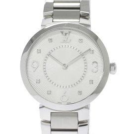 Louis Vuitton Tambour Monogram Q13MJ Stainless Steel Quartz 33mm Womens Watch