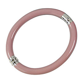 Tiffany & Co. Pink Enamel and Sterling Silver Hinged Bangle