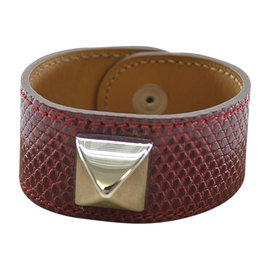 Hermes Silver Tone Metal And Leather Bracelet