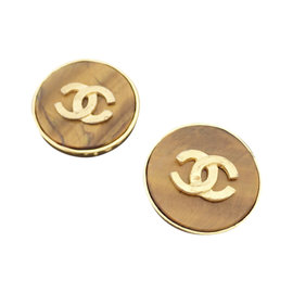 Chanel Gold Tone Hardware and Stone Glass CC Mark Clip On Earrings