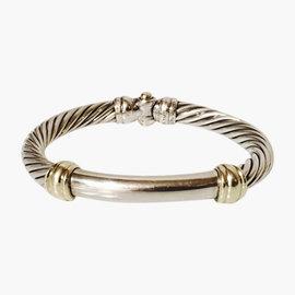David Yurman Classic Cable Hinged Segmented Sterling Silver & 14k Gold Bangle Bracelet