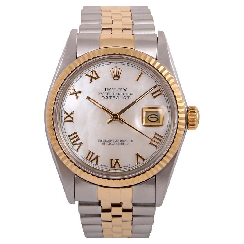 """Image of """"Rolex Datejust 18k Yellow Gold Stainless Steel White Mother Of Pearl"""""""