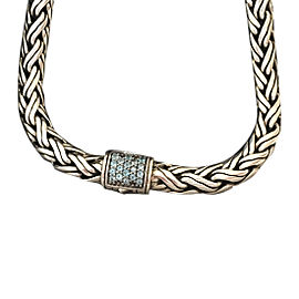 John Hardy 925 Sterling Silver with Blue Topaz Woven Style Chain Necklace