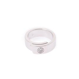 Cartier 18K White Gold 0.01ct. Diamond Ring Size 3.25