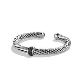 David Yurman Cable Sterling Silver With Black Diamonds Bracelet