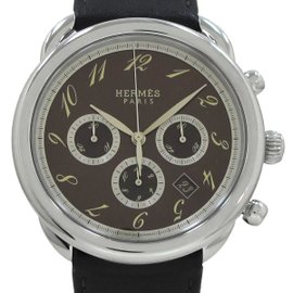 Hermes Arceau AR4 .910 Stainless Steel and Leather Automatic 43mm Mens Watch
