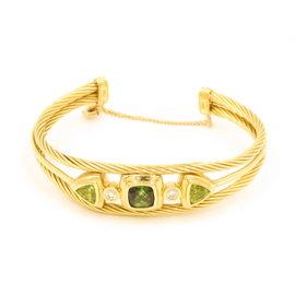 David Yurman 18K Yellow Gold Diamond Tsavorite and Peridot Renaissance Cable Bracelet