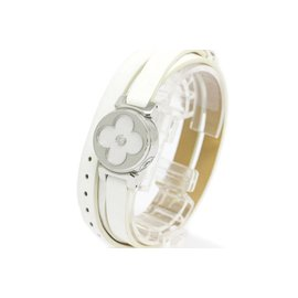 Louis Vuitton Tambour Bijou Secret Stainless Steel & Leather Mother Of Pearl Diamond 22mm Womens Watch