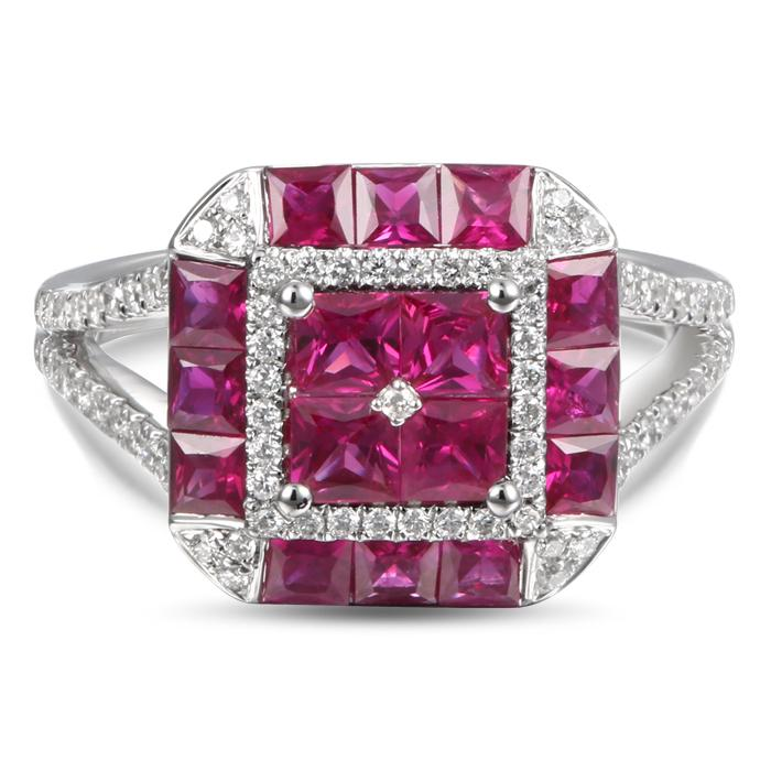 "Image of ""Greg Ruth 18K White Gold 0.34ctw Diamond & 1.87ctw Ruby Ring Size 6.5"""