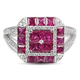 Greg Ruth 18K White Gold 0.34ctw Diamond & 1.87ctw Ruby Ring Size 6.5
